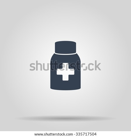 medicine bottle icon. Flat design style EPS - stock vector