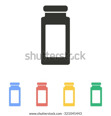 Medicine bottle  icon  on white background. Vector illustration.