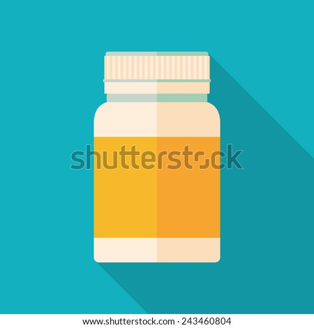 medicine bottle icon with long shadow. flat style vector illustration