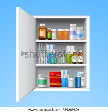 Medicine Cabinet Tablets Pills Bottles Drops Stock Vector