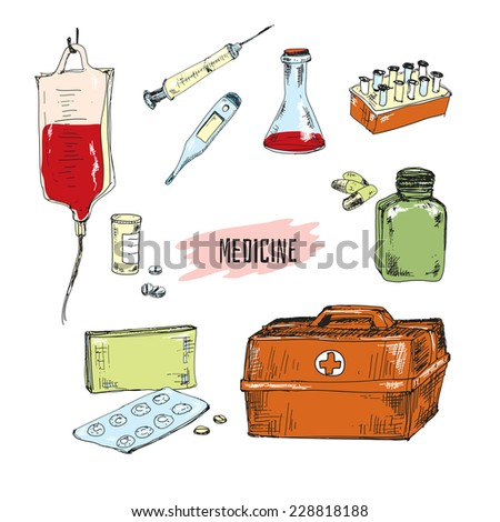 Medicine. Collection of hand drawn graphic illustrations - stock vector