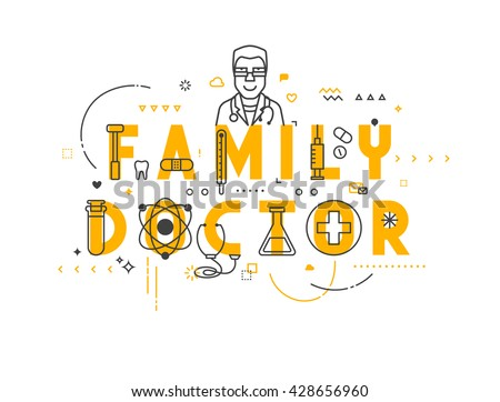 Medicine concept family. Creative design elements for websites, mobile apps and printed materials.  - stock vector