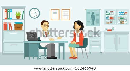 Medicine concept with doctor and patient in flat style. Practitioner doctor man and young woman patient in hospital medical office. Consultation and diagnosis