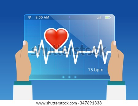 Medicine doctor monitoring the status of cardiogram on modern computer interface - stock vector