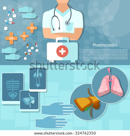 Medicine doctor professional first aid kit hospital medical examination x-rays human organs vector banners - stock vector