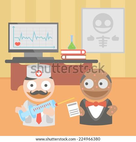 medicine doctor syringe vaccine - stock vector