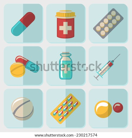Medicine (drugs) flat icons set with - pills box, tablets, pill, blister, vitamins, syringe, liquid medicine. - stock vector