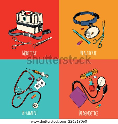 Medicine emergency healthcare colored sketch flat icons set of treatment diagnostics isolated vector illustration - stock vector