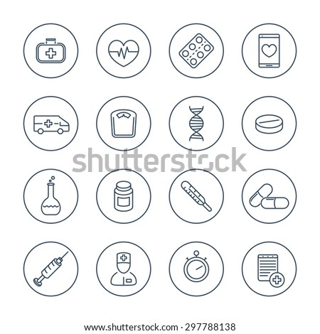 medicine, health care, pharmaceutics, hospital, line icons in circles, vector illustration, eps10, easy to edit - stock vector