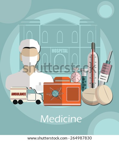 Medicine healthcare services concept flat icons set of medical technology pharmacy diagnostics, vector illustration - stock vector