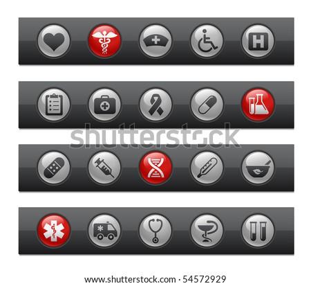 Medicine & Heath care // Button Bar Series - stock vector