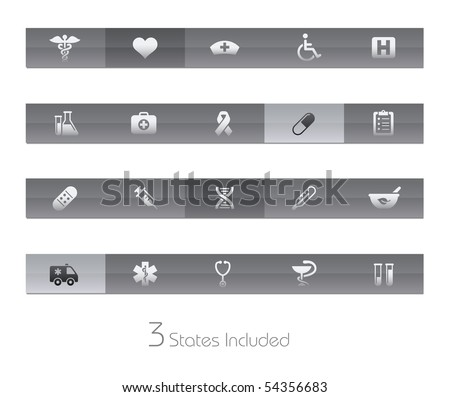 Medicine & Heath care // Gelbar Series  +++ It includes 3 buttons states in different layers.  +++ - stock vector