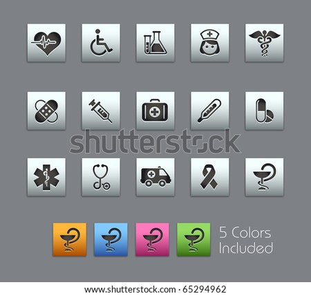 Medicine & Heath Care // Satinbox Series -------It includes 5 color versions for each icon in different layers --------- - stock vector