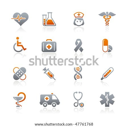 Medicine & Heath Care Web Icons  // Graphite Series - stock vector