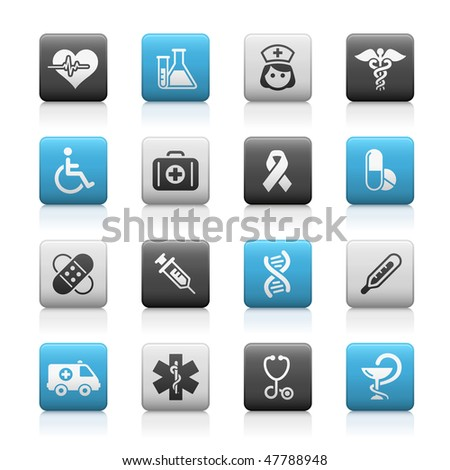 Medicine & Heath Care Web Icons // Matte Series - stock vector
