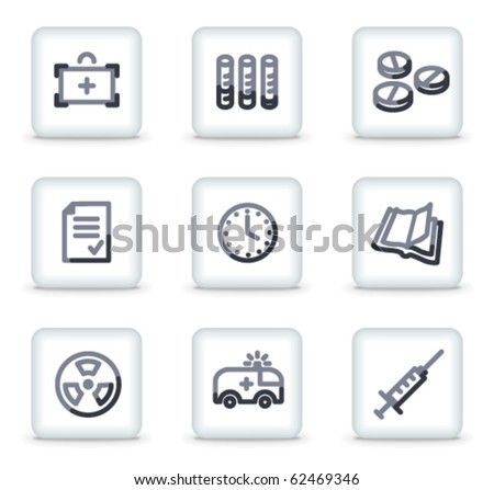 Medicine icons set 1, white square glossy buttons - stock vector
