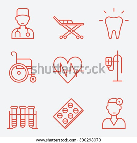 Medicine icons, thin line style, flat design - stock vector