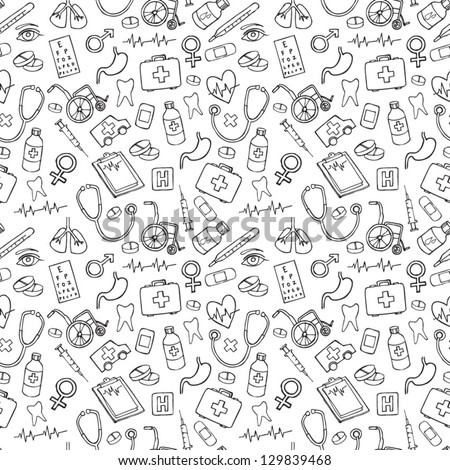 Medicine icons vector doodle seamless background - stock vector