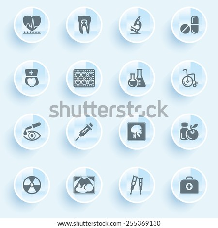 Medicine icons with buttons on blue background. - stock vector