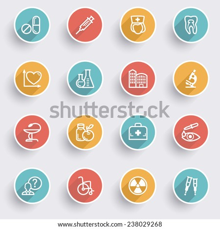 Medicine icons with color buttons on gray background. - stock vector