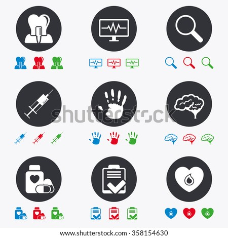 Medicine, medical health and diagnosis icons. Blood, syringe injection and neurology signs. Tooth implant, magnifier symbols. Flat circle buttons with icons. - stock vector