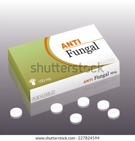Medicine named ANTI FUNGAL with a fungus as the brand logo on the remedy package. It's a medical fake product. Vector illustration. - stock vector