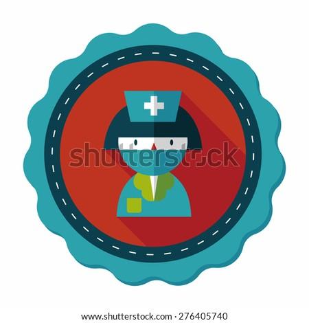 Medicine nurses flat icon with long shadow - stock vector