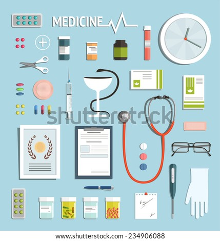 Medicine Objects and Medicament Collection. Medicine icons flat style illustration collection. Vector EPS10. - stock vector