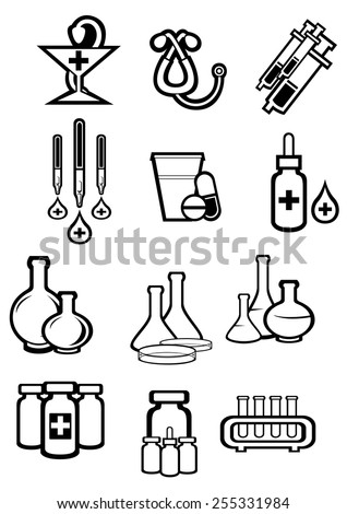 Medicine or drugs icons in outline sketch style with bottles, pills, capsules, syringes, drops, tubes, droppers, stethoscope and pharmacy symbol for drugstore or medicament design - stock vector
