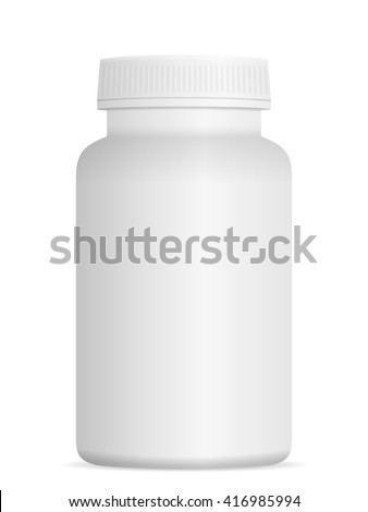 Medicine pill bottle on a white background.