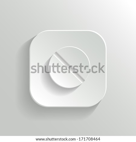 Medicine pill icon - vector white app button with shadow