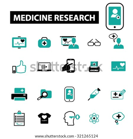 medicine, research icons - stock vector