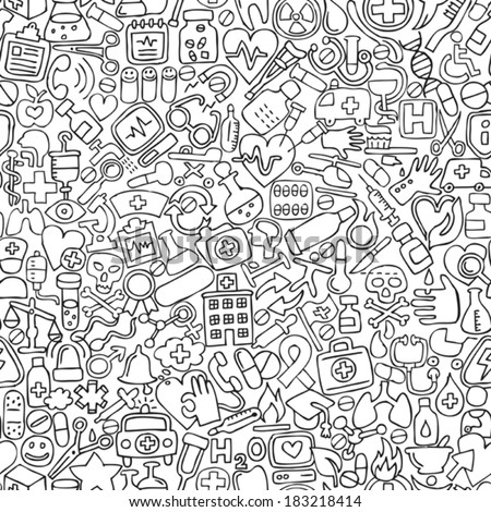 Medicine seamless pattern in black and white (repeated) with mini doodle drawings (icons). Illustration is in eps8 vector mode.