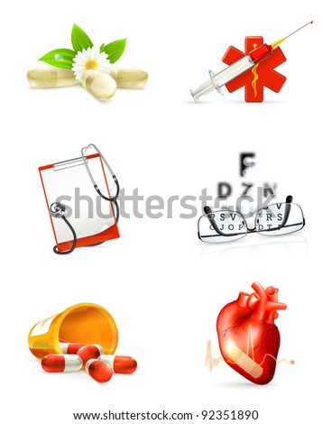 Medicine, set of icons - stock vector
