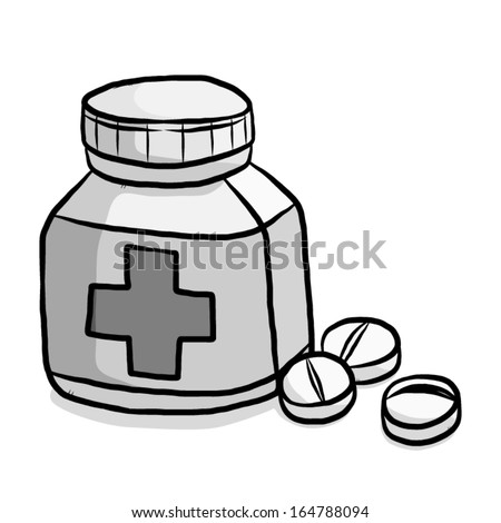 medicine tablets and package bottle / cartoon vector and illustration, isolated on white background. - stock vector