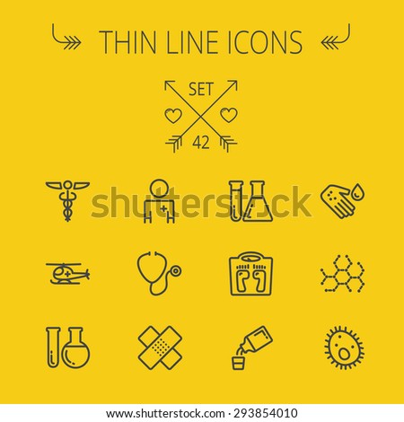 Medicine thin line icon set for web and mobile. Set includes- molecule, medicine, doctor, stethoscope, bandage, medical symbol, air ambulance icons. Modern minimalistic flat design. Vector dark grey - stock vector