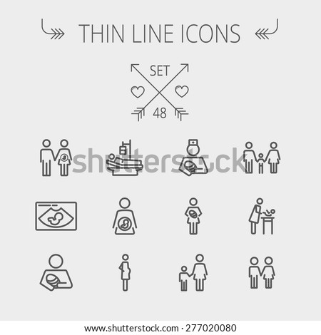 Medicine thin line icon set for web and mobile. Set includes- sick person, pregnant, wife and husband, ultrasound, baby, nurse, family, siblings icons. Modern minimalistic flat design. Vector dark - stock vector
