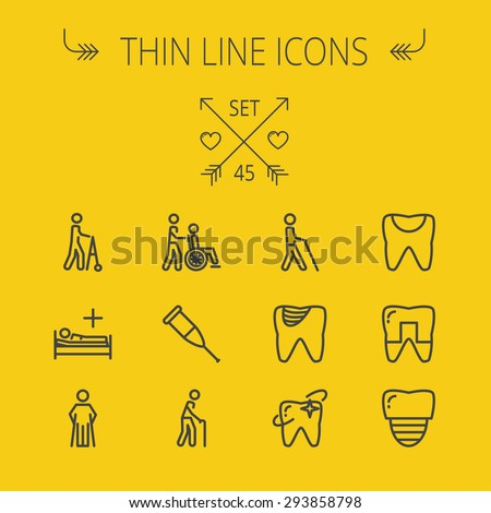 Medicine thin line icon set for web and mobile. Set includes- tooth, crutches, walker, injured person, sick person, syringe, bed, toothache, icons. Modern minimalistic flat design. Vector dark grey - stock vector