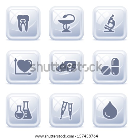 Medicine web icons on gray buttons.