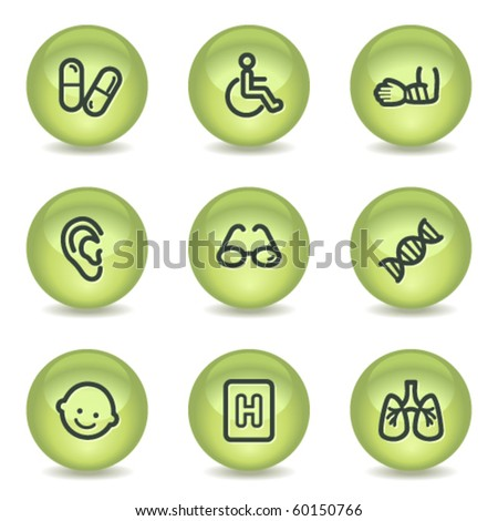 Medicine web icons set 2, green glossy circle buttons - stock vector
