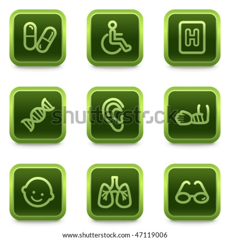 Medicine web icons set 2, green square buttons series - stock vector