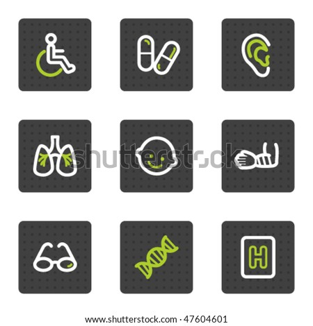 Medicine web icons set 2, grey square buttons series - stock vector