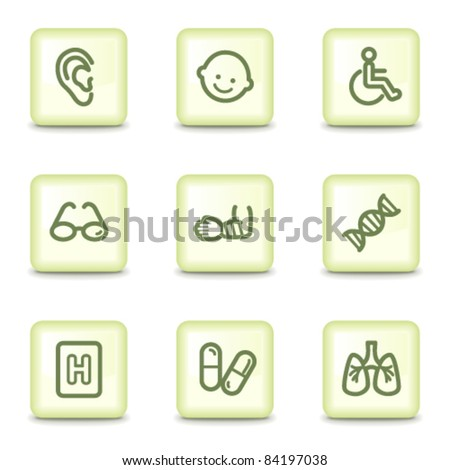 Medicine web icons set 2, salad green buttons - stock vector