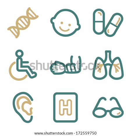Medicine web icons, two color series - stock vector