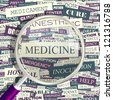 MEDICINE. Word collage. Vector seamless illustration. - stock vector
