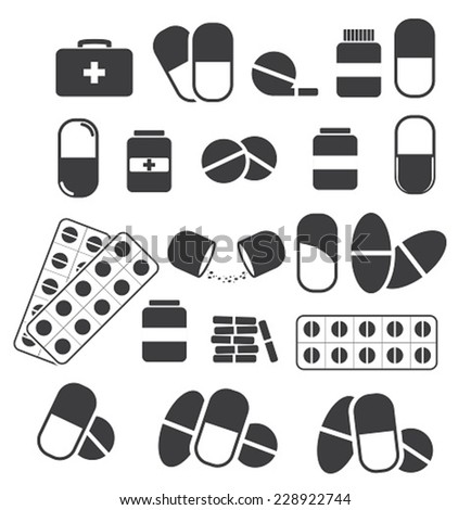 Medicines and tablets, pills capsules medical. Vector set of black icons - stock vector