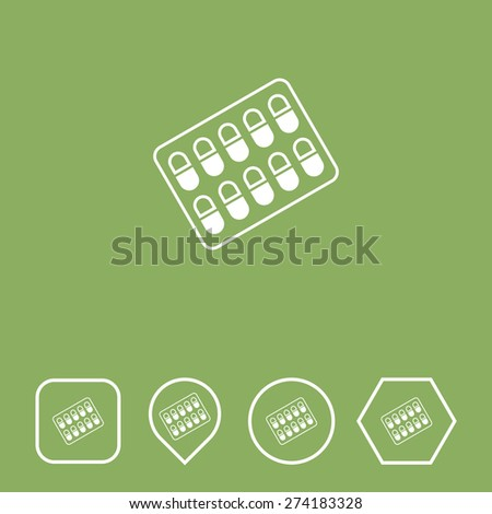 Medicines Icon on Flat UI Colors with Different Shapes. Eps-10. - stock vector