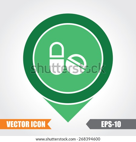 Medicines  Icon On Map Pointer. Eps.-10. - stock vector