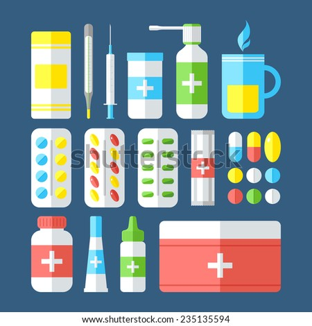 Medicines isolated on dark background. Pills, vitamins, capsules, hot beverage, thermometer - first aid for colds. Disease and treatment. Medical background. Vector illustration. - stock vector