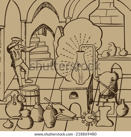Medieval alchemists conducting experiments of life creation artificially in the laboratory with container, bottles, potions and other accessories vector illustration